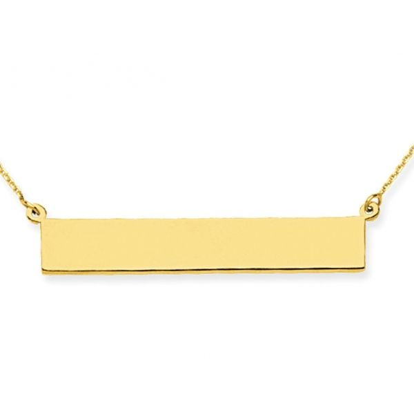 Yellow Gold Plated Sterling Silver Polished  E2W Bar Pendant, 6.5mm x 36.5mm, Engraveable,  16+2