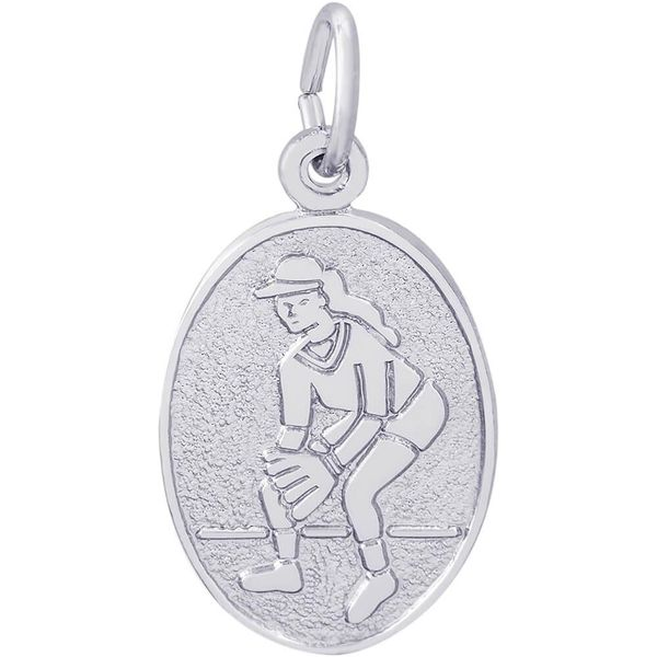Rhodium Sterling Silver Female Softball Disc Oval Charm/pendant. 0.73