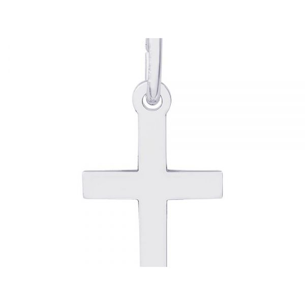 Rhodium Sterling Silver Plain Polished Cross Charm/pendant. 0.53