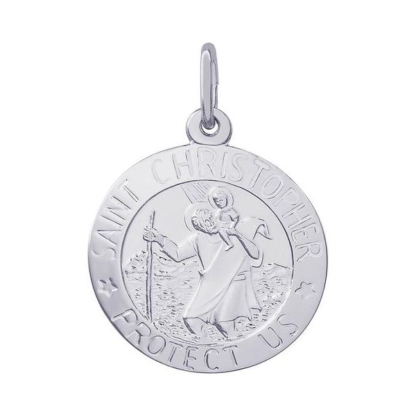 Rhodium Sterling Silver St Christopher Medal  Disc Charm/Pendant. 18.5mm, Polished, Engravable, Barnes Jewelers Goldsboro, NC