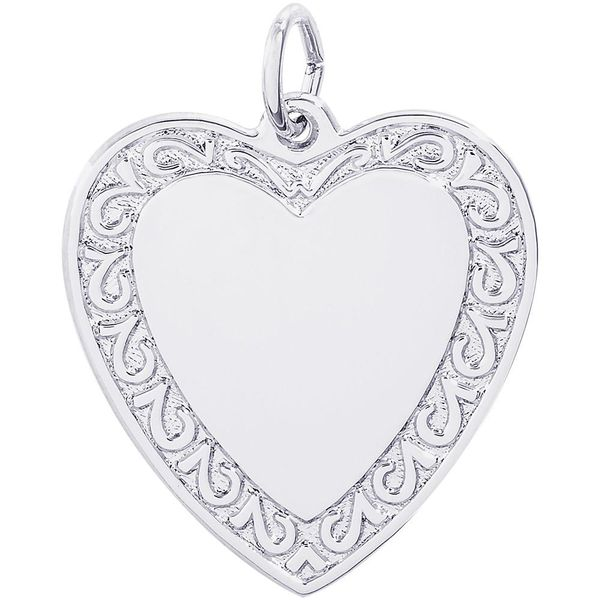 Rhodium Sterling Silver Heart Charm with scroll edge. 23mm x 21.5mm,  polished, engravable. Barnes Jewelers Goldsboro, NC
