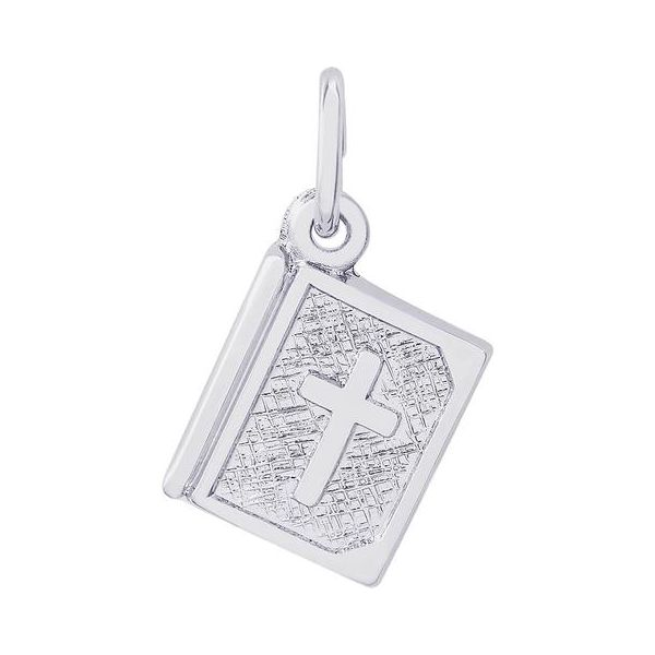 Rhodium Sterling Silver Bible w/Cross Charm. Polished, Engravable,  .41