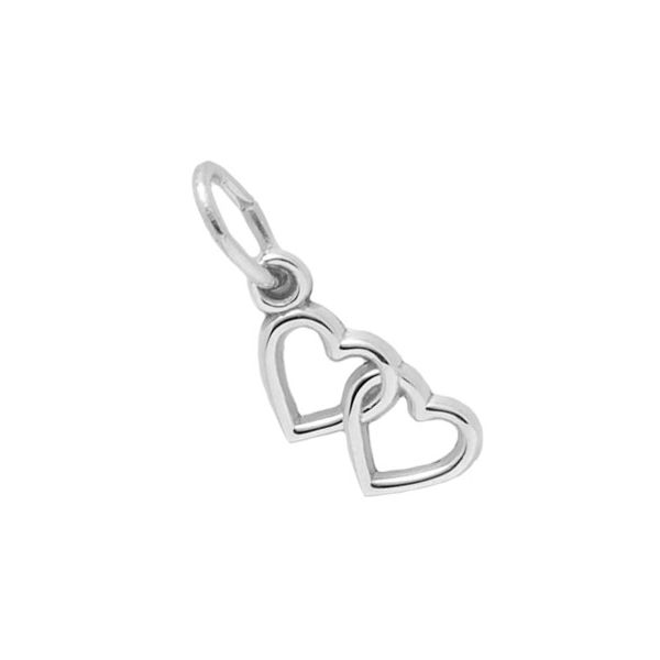 Rhodium Sterling Silver Double Hearts Charm Barnes Jewelers Goldsboro, NC