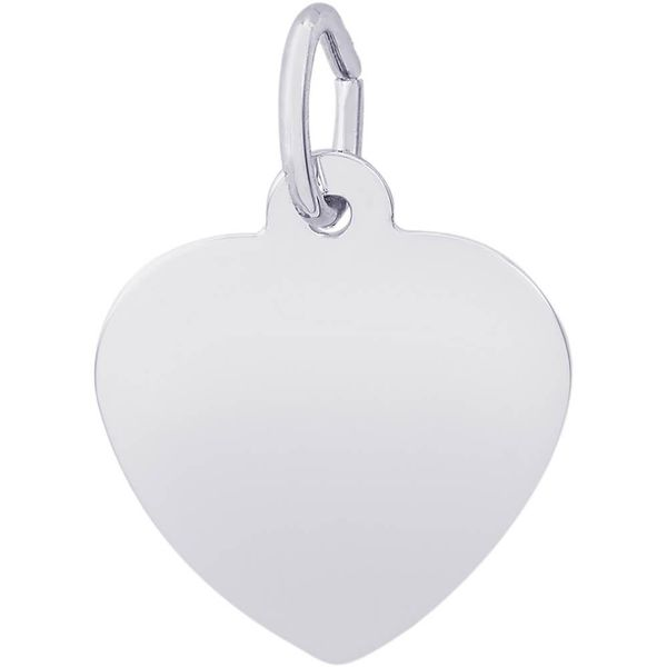 Rhodium Sterling Silver Classic 15mm Heart Charm. polished, engravable. Barnes Jewelers Goldsboro, NC