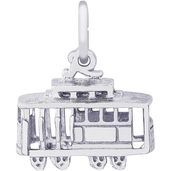 Rhodium Sterling Silver  3-D Cable Car Charm. Barnes Jewelers Goldsboro, NC
