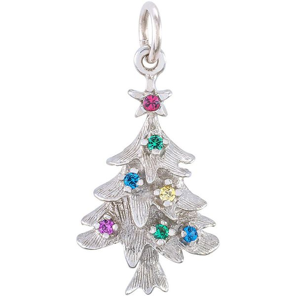Rhodium Sterling Silver Christmas Tree Charm/Pendant  w/Ornaments  (colored beads).  0.85