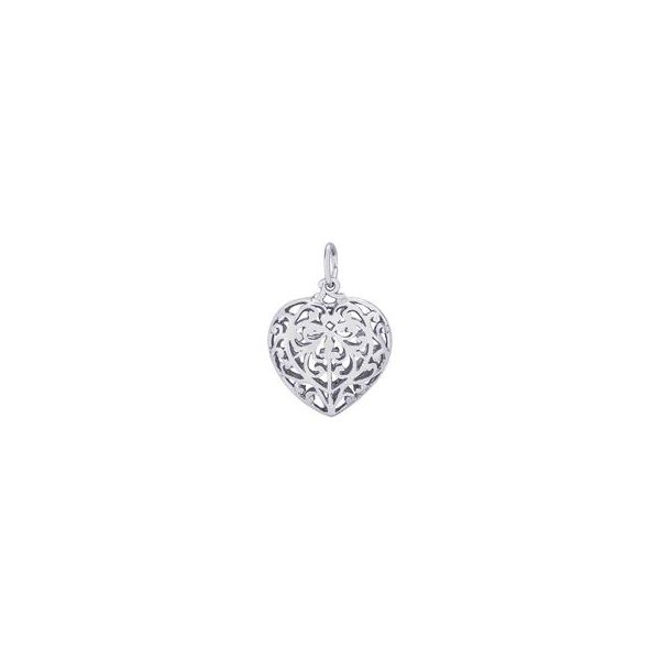 Rhodium Sterling Silver Filigree Puffed Heart Charm. Polished.  .71