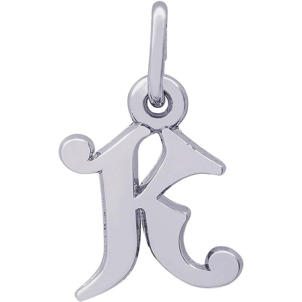 Rhodium Sterling Silver Curly Initial  K  Charm. Polished, 0.42