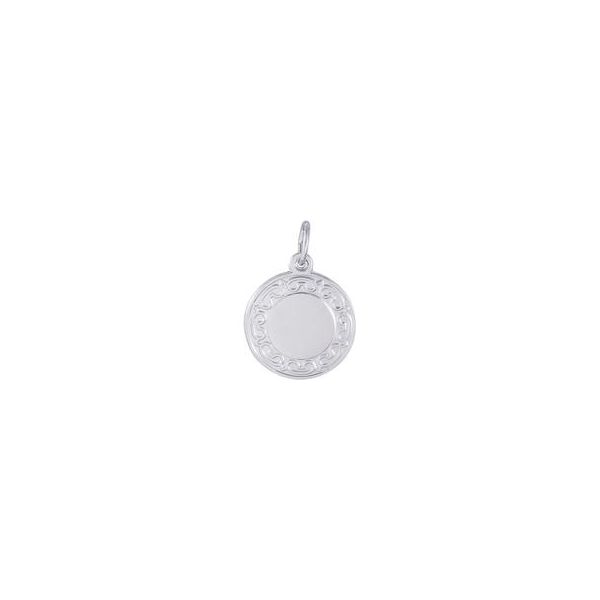Rhodium Sterling Silver Round Disc W/Scroll Edge Charm, 17.7mm, polished, engravable. Barnes Jewelers Goldsboro, NC