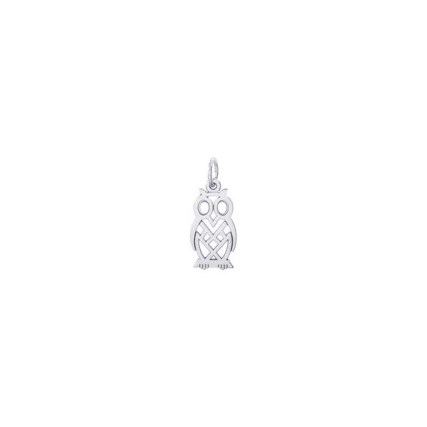 Rhodium Sterling Silver  Flat Owl,  Openwork, Polished,  0.73