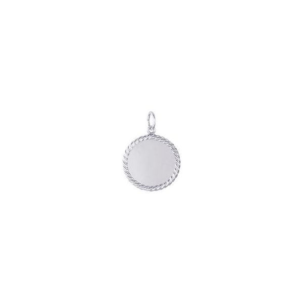 Rhodium Sterling Silver 19mm Rope Edge Disk Charm. polished, engravable. Barnes Jewelers Goldsboro, NC