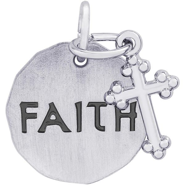 Rhodium Sterling Silver FAITH disc w/Botonny Cross, 15.5mm, Satin finish, Engravable. Barnes Jewelers Goldsboro, NC