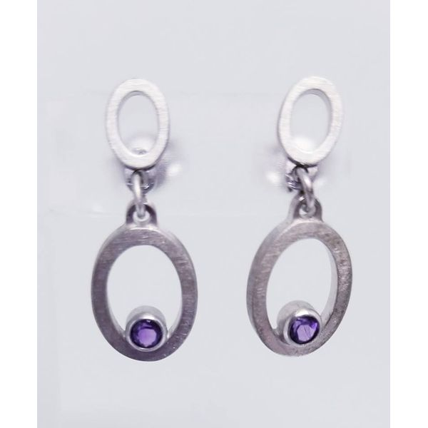 Rhodium Sterling Silver Dangle  earrings w/ amethyst stones. Brushed finish. Barnes Jewelers Goldsboro, NC