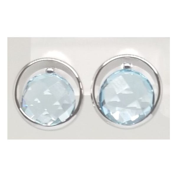 Rhodium Sterling Silver Stud Earrings with 2 Round 4.72tw Blue Topaz w/ Checkerboard Top. Barnes Jewelers Goldsboro, NC