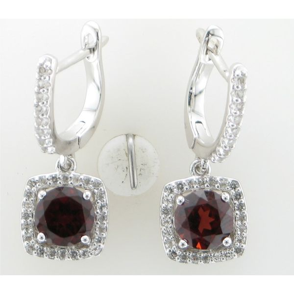 ITALGEM - Rhodium Sterling Silver Dangle Earrings with 6mm round Garnets and CZ Halos, 3.39ctw, January, H37E107WGT2 Barnes Jewelers Goldsboro, NC