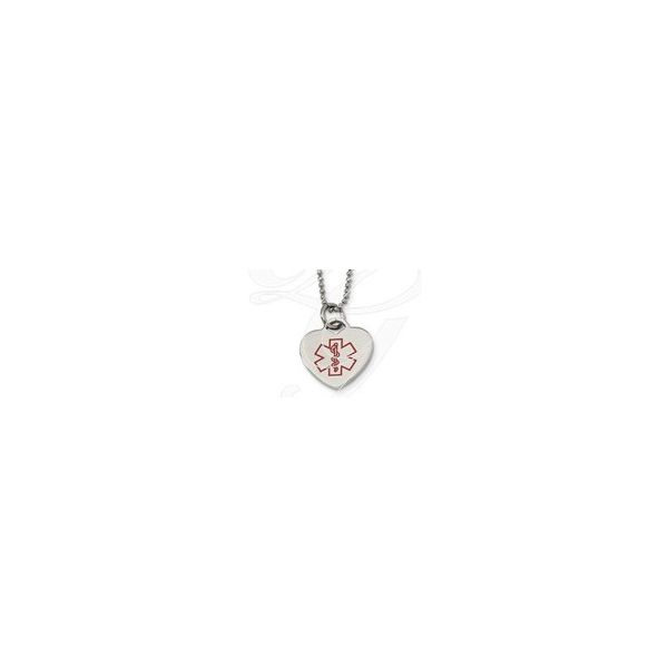Chisel Stainless Steel Necklace w/Red Medical Alert Heart Pendant 28mm x 24mm , 1mm Bead Chain=  22