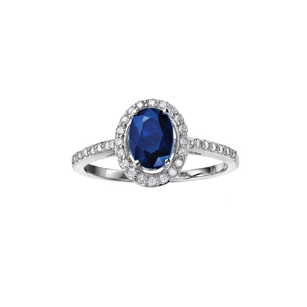 10KW Blue Sapphire & Diamond Halo Ring Barthau Jewellers Stouffville, ON