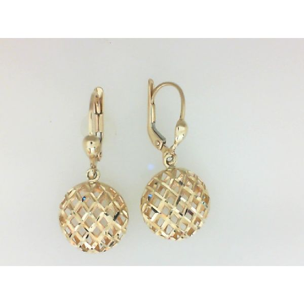 14KW 12.5mm Textured Ball Dangle Lever back Earrings Barthau Jewellers Stouffville, ON