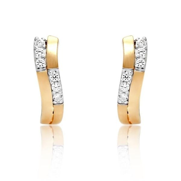 925 Larus Earrings Huggies GP And CZ Barthau Jewellers Stouffville, ON