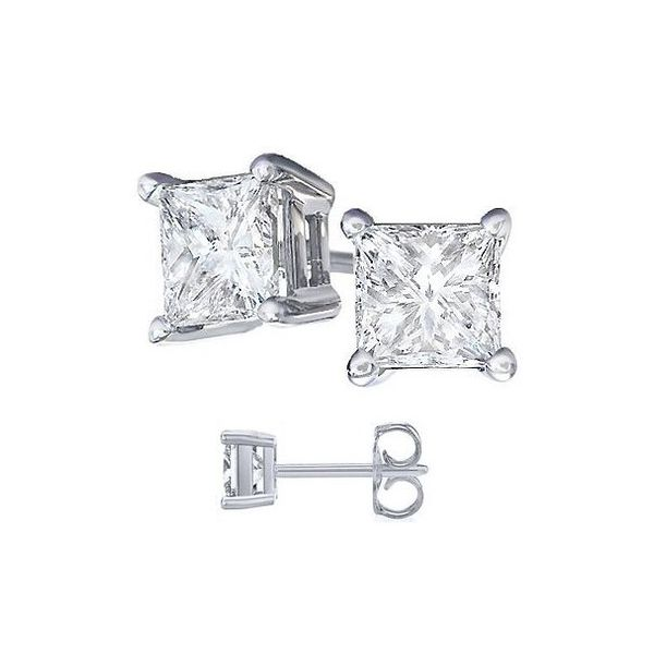 925 5MM CZ 4 Princess Earrings Barthau Jewellers Stouffville, ON