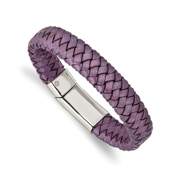 Stainless Steel Polished Metallic Purple Woven Leather Bracelet Barthau Jewellers Stouffville, ON