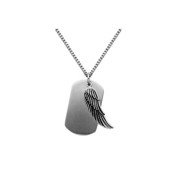 Stainless Steel Dog Tag & Feather Necklace 24