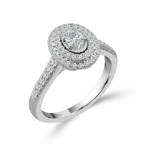White Gold Oval Double Halo Engagement Ring Image 2 Baxter's Fine Jewelry Warwick, RI