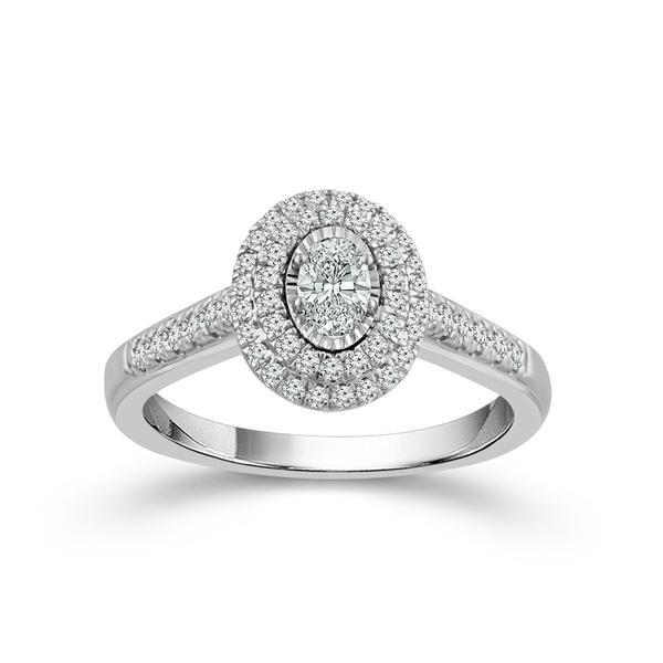 White Gold Oval Double Halo Engagement Ring Baxter's Fine Jewelry Warwick, RI
