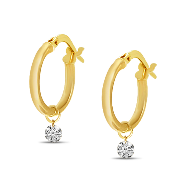 14K Yellow Gold Dashing Diamond Pierced Diamonds Hollow Hoop Earrings Image 2 Baxter's Fine Jewelry Warwick, RI