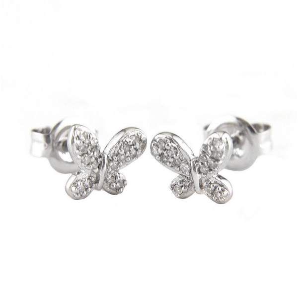 14K White Gold Diamond Butterfly Earrings Baxter's Fine Jewelry Warwick, RI