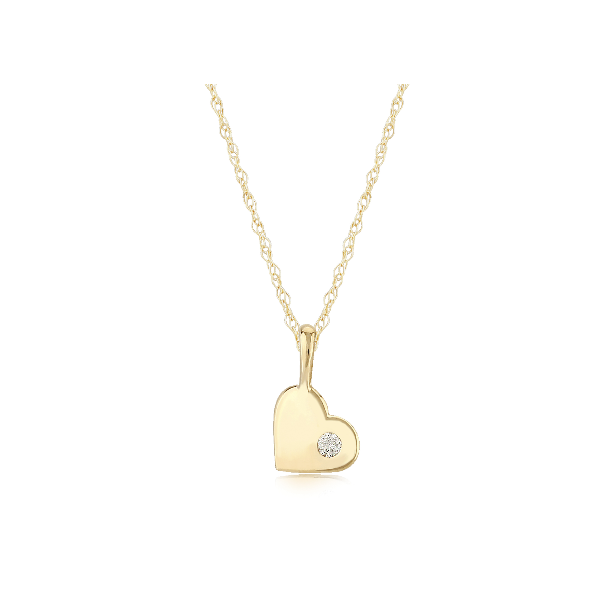 14K Yellow Gold Heart Pendant with Diamond Accent Baxter's Fine Jewelry Warwick, RI