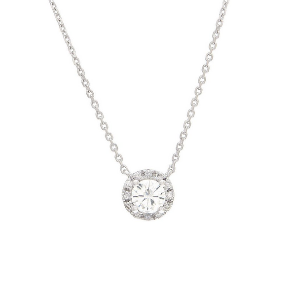 14K White Gold Diamond Halo Necklace Baxter's Fine Jewelry Warwick, RI