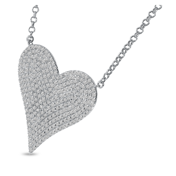 14K White Gold Large Diamond Heart Necklace Image 2 Baxter's Fine Jewelry Warwick, RI
