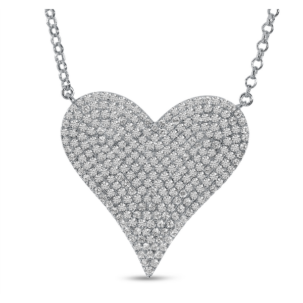 14K White Gold Large Diamond Heart Necklace Baxter's Fine Jewelry Warwick, RI