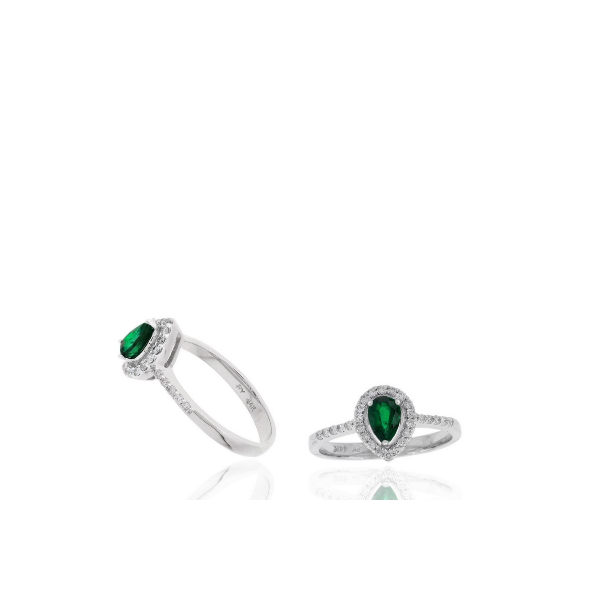 14K White Gold Diamond and Emerald Halo Ring Baxter's Fine Jewelry Warwick, RI