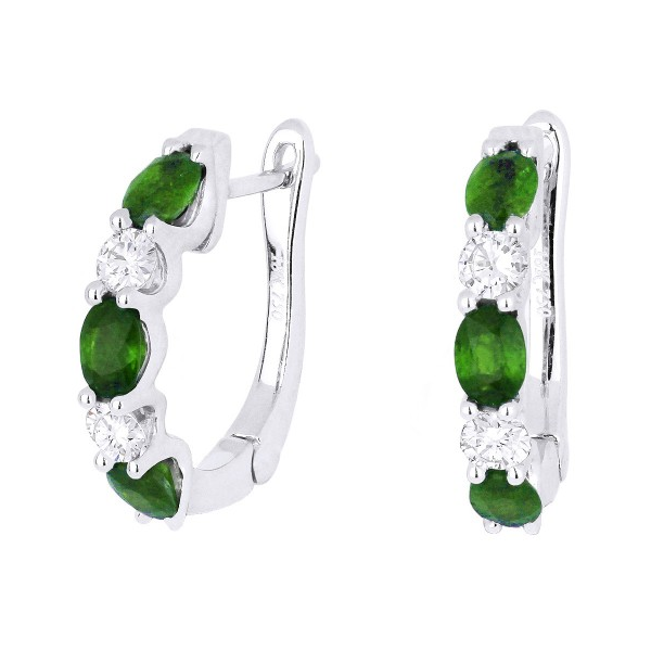 14K White Gold Diamond And Emerald Earrings Baxter's Fine Jewelry Warwick, RI