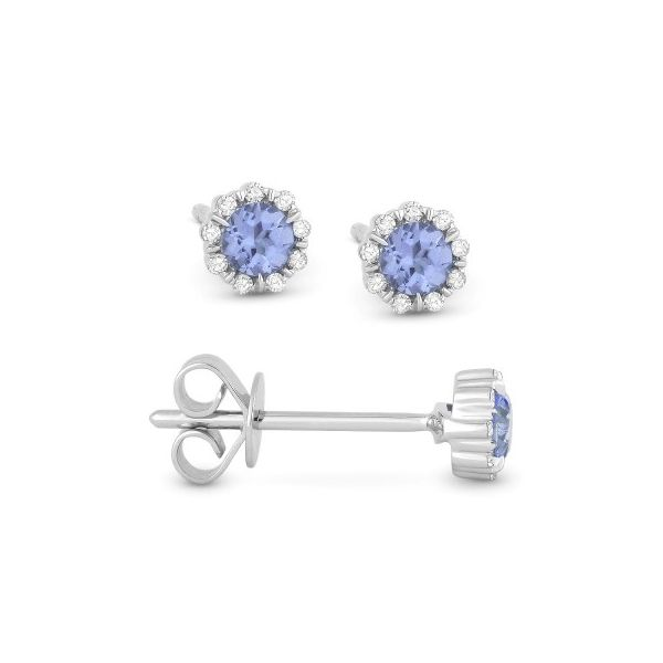 White Gold London Blue Topaz Stud Earrings Baxter's Fine Jewelry Warwick, RI