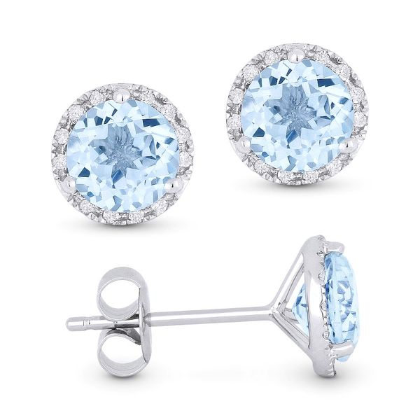 White Gold Blue Topaz Stud Earrings Baxter's Fine Jewelry Warwick, RI