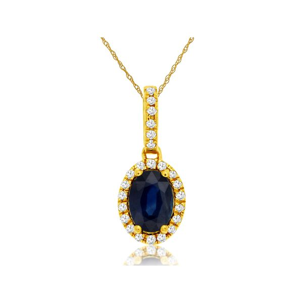 Yellow Hold Sapphire and Diamond Halo Pendant Baxter's Fine Jewelry Warwick, RI