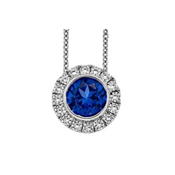 White Gold Diamond and Blue Sapphire Bezel Halo Pendant Baxter's Fine Jewelry Warwick, RI