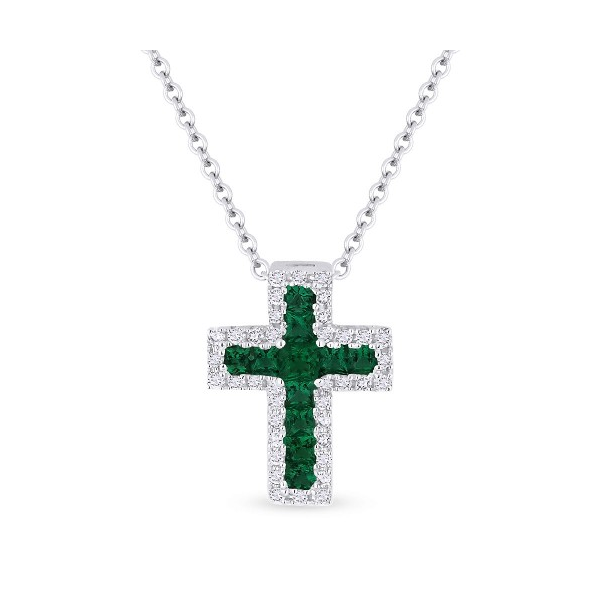 Diamond and Emerald Cross Pendant Baxter's Fine Jewelry Warwick, RI