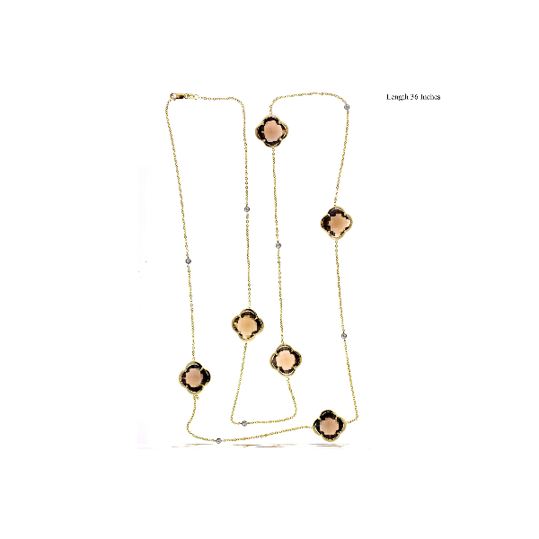 14k Yellow Gold Multi Stone Clover Station Necklace 36