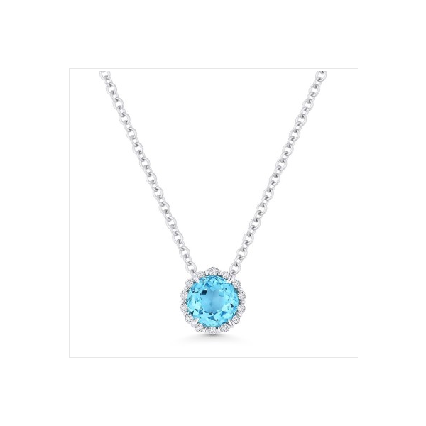 14K White Gold Diamond and Blue Topaz Necklace Baxter's Fine Jewelry Warwick, RI