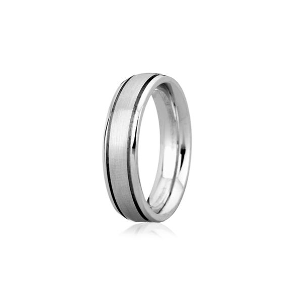 Sandblast Step Edged Classic Men's Ring Image 3 Baxter's Fine Jewelry Warwick, RI