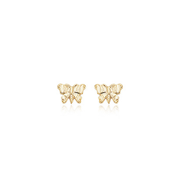 14K Yellow Gold Embossed Butterfly Stud Earrings Baxter's Fine Jewelry Warwick, RI