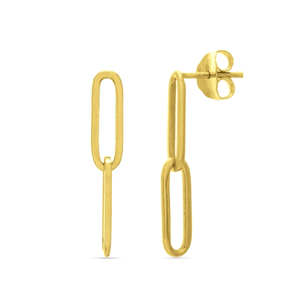 14k Yellow Gold Paperclip Dangle Earrings Baxter's Fine Jewelry Warwick, RI