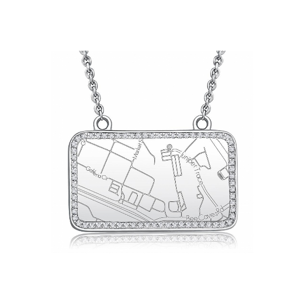 Sterling Silver Rectangle Map Necklace with Diamond Border Baxter's Fine Jewelry Warwick, RI