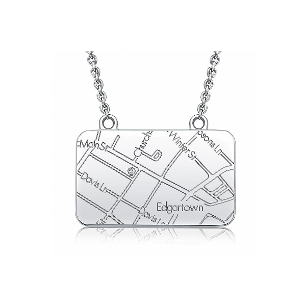 Sterling Silver Rectangle Map Necklace Baxter's Fine Jewelry Warwick, RI