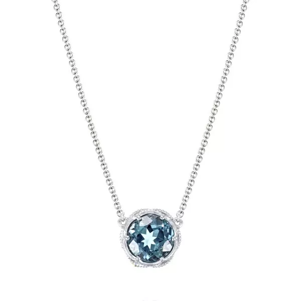 Bold Crescent Station Necklace featuring London Blue Topaz Baxter's Fine Jewelry Warwick, RI