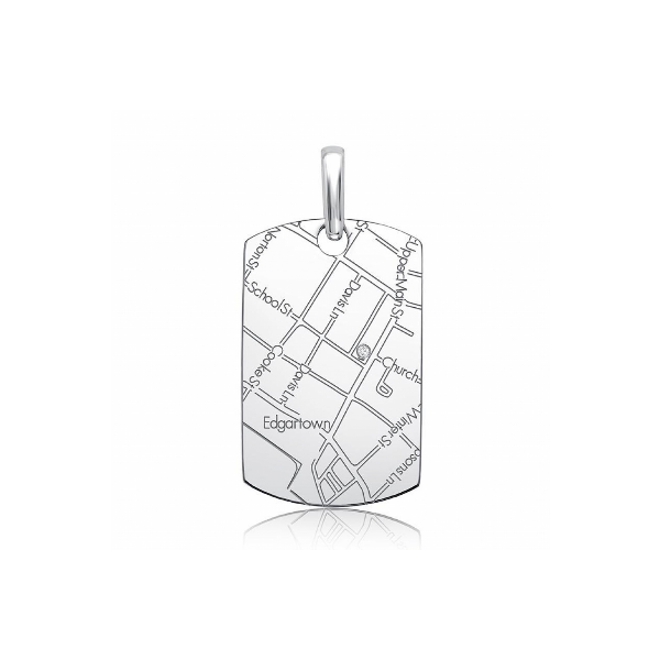 Sterling Silver Women's Map Dog Tag Pendant Baxter's Fine Jewelry Warwick, RI